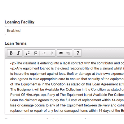 Loaning guidelines and terms